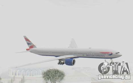 Boeing 777-300ER British Airways для GTA San Andreas вид сзади слева