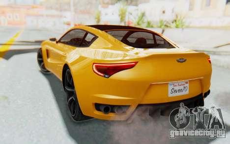 GTA 5 Dewbauchee Seven 70 IVF для GTA San Andreas вид сзади слева