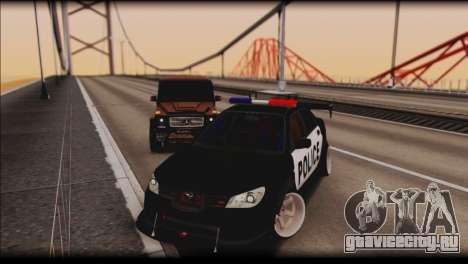 Subaru Impreza WRX STi Police Drift для GTA San Andreas вид сзади