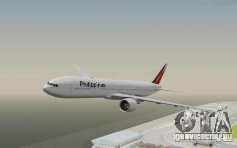 Boeing 777-300ER Philippine Airlines для GTA San Andreas вид сзади слева