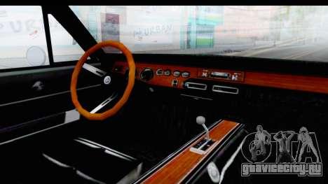 Dodge Charger 1969 Max Speed для GTA San Andreas вид изнутри