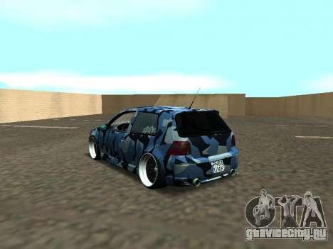 Гольф-Стойка Фольксваген МК4 Р32 для GTA San Andreas вид сзади слева
