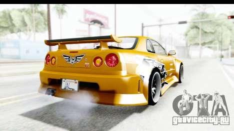 NFSU Eddie Nissan Skyline для GTA San Andreas вид сзади слева