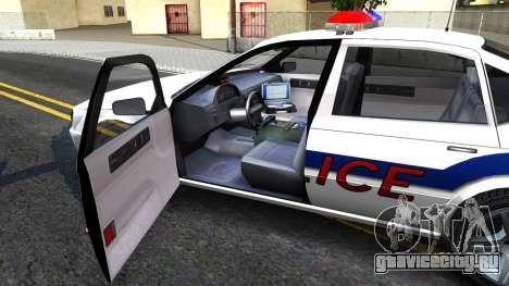 Declasse Merit Metropolitan Police 2005 для GTA San Andreas вид изнутри