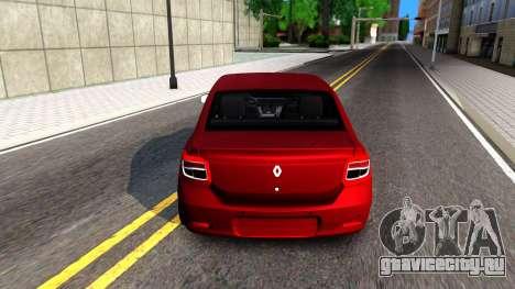 Renault Symbol 2013 для GTA San Andreas вид сзади слева