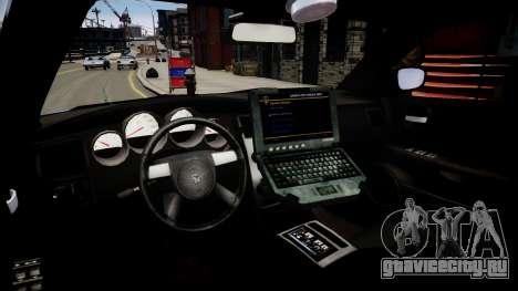 Dodge Charger Unmarked для GTA 4 вид изнутри