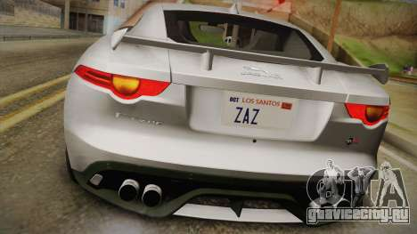Jaguar F-Type SVR 2016 для GTA San Andreas вид сзади
