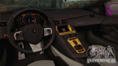 Lamborghini Aventador The Joker для GTA San Andreas вид изнутри