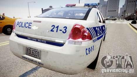 Chevrolet Impala Police для GTA 4 вид сзади слева