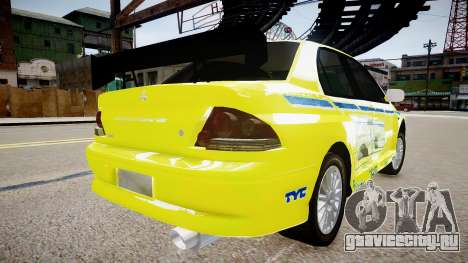 Mitsubishi Evo IX Fast and Furious 2 V1.0 для GTA 4 вид сзади слева