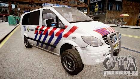 Mercedes-Benz Vito 115 CDI Dutch Police для GTA 4 вид справа
