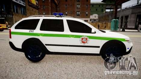 Lithuanian Police Skoda Octavia Scout для GTA 4 вид слева