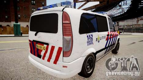 Mercedes-Benz Vito 115 CDI Dutch Police для GTA 4 вид слева