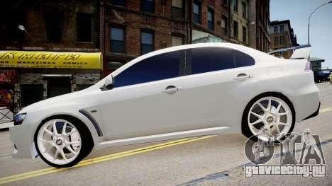 Mitsubishi Evolution X 2009 v2.0 для GTA 4 вид справа