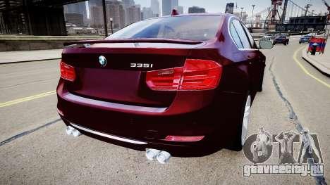 BMW 335i 2013 для GTA 4 вид сзади слева