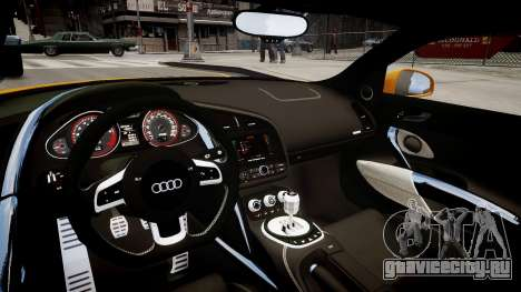 Audi R8 PPI Threep Edition для GTA 4 вид изнутри
