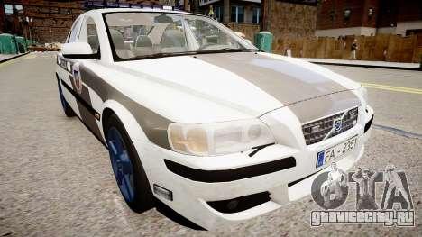 Latvian Police Volvo S60R для GTA 4 вид справа