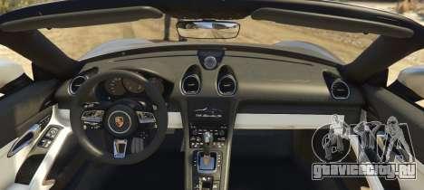 Porsche 718 Boxster S для GTA 5 вид сзади слева