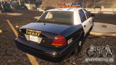 Ford Crown Victoria P71- LA Co. Sheriff 1999 для GTA 5 вид сзади слева