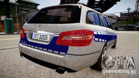 German Police Mercedes Benz E350 для GTA 4 вид сзади слева