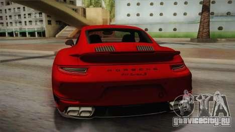 Porsche 911 Turbo S 2017 для GTA San Andreas вид сзади