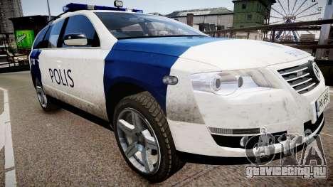 Finnish Police Volkswagen Passat (Poliisi) для GTA 4 вид справа
