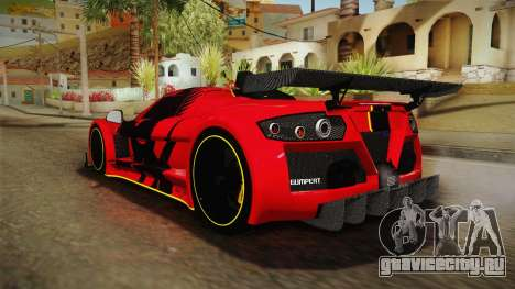 Gumpert Apollo Enraged для GTA San Andreas вид сзади слева