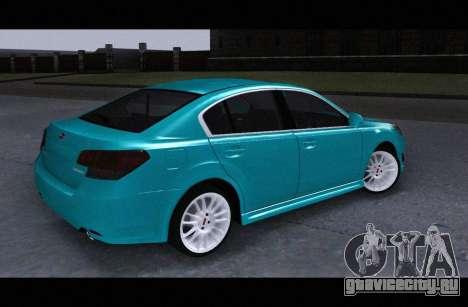 Subaru Legacy B4GT 2010 для GTA San Andreas вид сзади слева