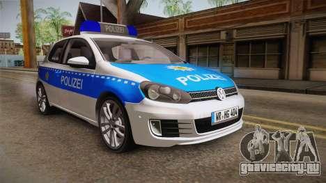 Volkswagen Golf Mk6 Police для GTA San Andreas вид сзади слева