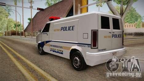 Brute Pony 1992 Metropolitan Police Department для GTA San Andreas вид сзади слева