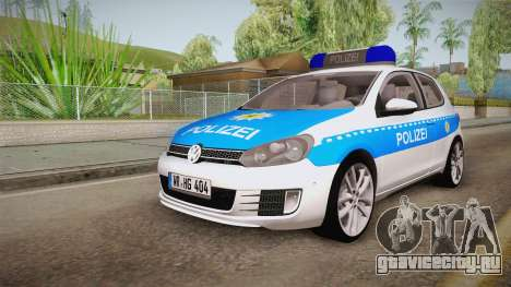 Volkswagen Golf Mk6 Police для GTA San Andreas