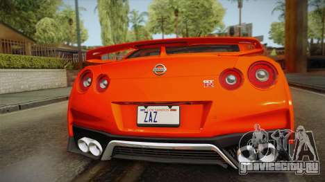 Nissan GT-R Premium 2017 для GTA San Andreas вид сзади
