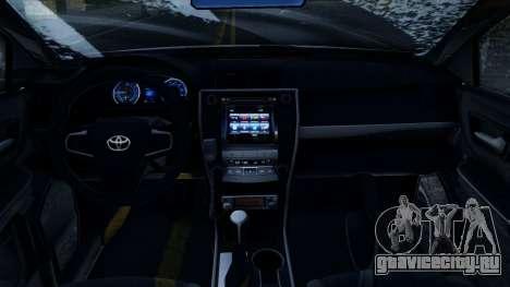 Toyota Camry 2016 ДПС Winter Edition для GTA San Andreas вид изнутри