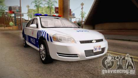 Chevrolet Impala Turkish Police для GTA San Andreas вид сзади слева