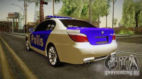 BMW M5 E60 Police для GTA San Andreas вид сзади слева