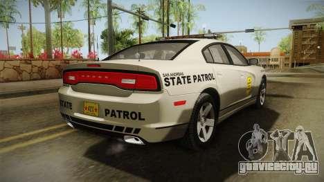 Dodge Charger 2012 SA State Patrol для GTA San Andreas вид сзади слева