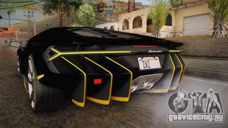Lamborghini Centenario LP770-4 2017 Carbon PJ для GTA San Andreas салон