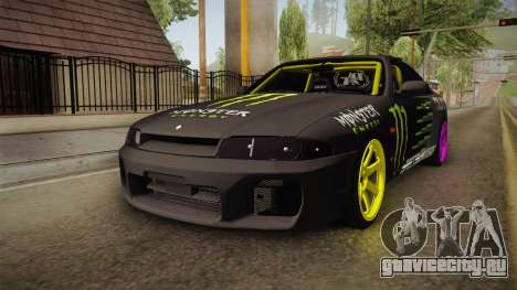 Nissan Skyline R33 Drift Monster Energy Falken для GTA San Andreas вид справа