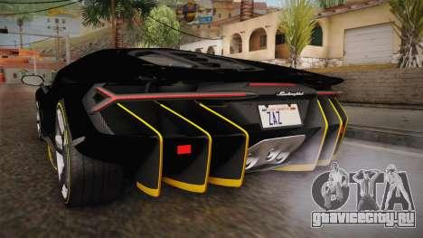 Lamborghini Centenario LP770-4 2017 Carbon PJ для GTA San Andreas вид снизу
