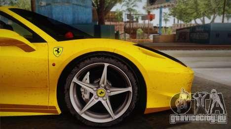 Ferrari 458 Spider FBI для GTA San Andreas вид сзади слева