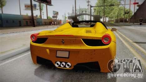 Ferrari 458 Spider FBI для GTA San Andreas вид сзади