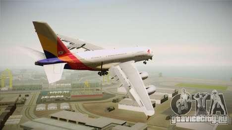 Airbus A380 Asiana Airline для GTA San Andreas вид справа