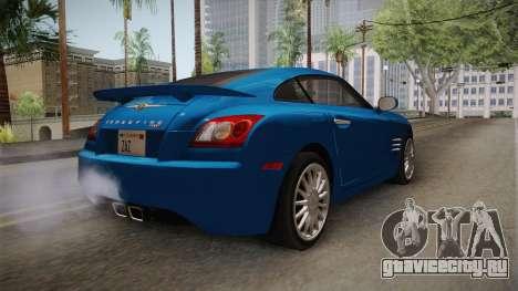 Chrysler Crossfire SRT-6 2006 для GTA San Andreas вид сзади слева