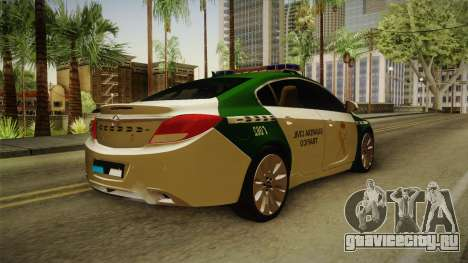Opel Insignia Guardia Civil Tráfico для GTA San Andreas вид сзади слева