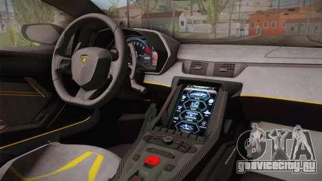 Lamborghini Centenario LP770-4 2017 Carbon PJ для GTA San Andreas вид изнутри