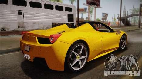 Ferrari 458 Spider FBI для GTA San Andreas вид слева