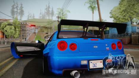 Nissan Skyline R34 14th Street для GTA San Andreas вид сзади