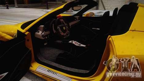 Ferrari 458 Spider FBI для GTA San Andreas вид изнутри