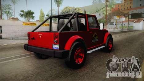 GTA 5 Canis Mesa Jurassic Park для GTA San Andreas вид сзади слева