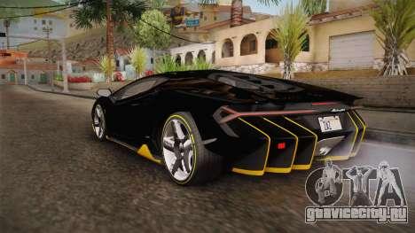 Lamborghini Centenario LP770-4 2017 Carbon PJ для GTA San Andreas вид сзади слева